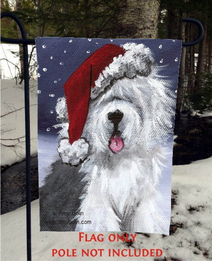 GARDEN FLAG · SHAGGY CLAWS · OLD ENGLISH SHEEPDOG · AMY BOLIN