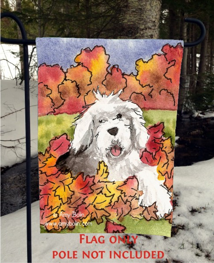 GARDEN FLAG · LEAF ROMP · OLD ENGLISH SHEEPDOG · AMY BOLIN