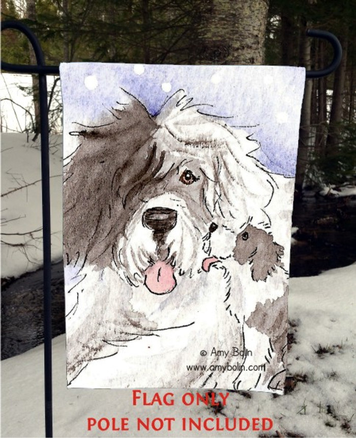 GARDEN FLAG · LITTLE KISS · OLD ENGLISH SHEEPDOG · AMY BOLIN