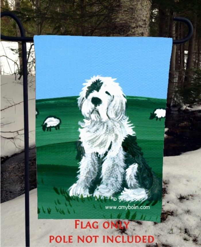 GARDEN FLAG · SHEEP DOG · OLD ENGLISH SHEEPDOG · AMY BOLIN