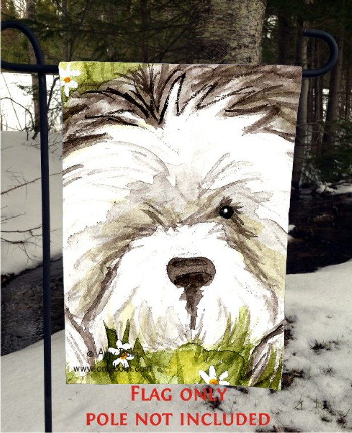 GARDEN FLAG · SHEEPIE IN THE DAISIES · OLD ENGLISH SHEEPDOG · AMY BOLIN