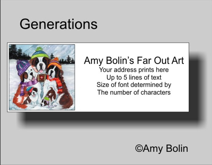 ADDRESS LABELS · GENERATIONS · SAINT BERNARD · AMY BOLIN