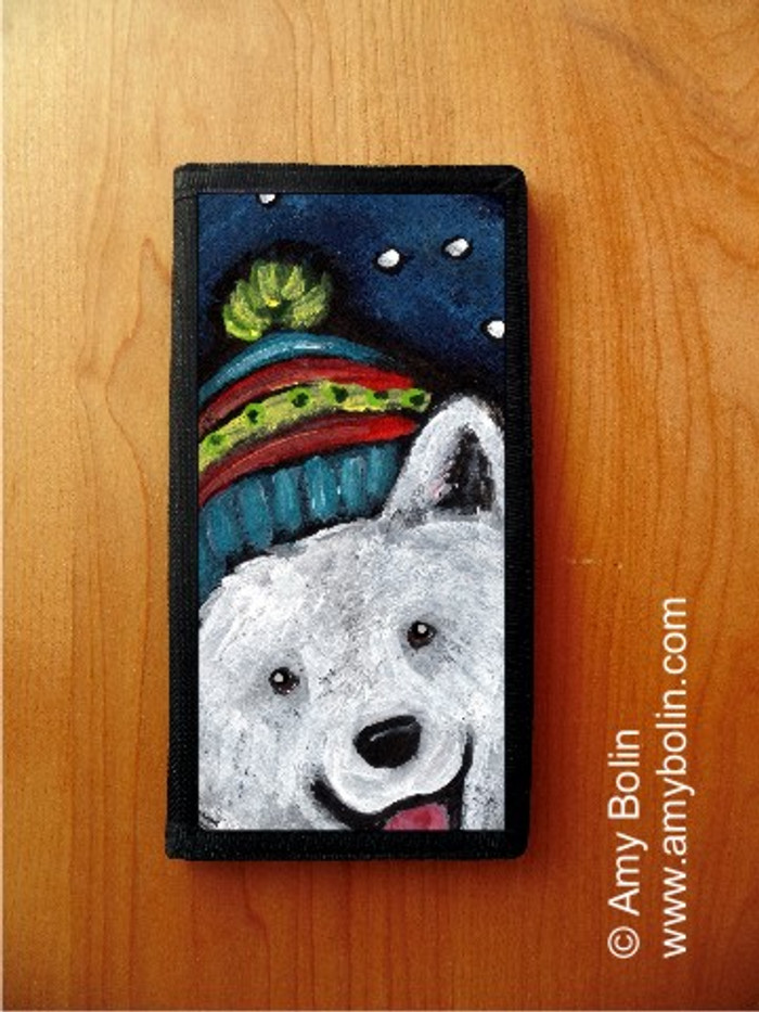 CHECKBOOK COVER · SNOWY WEATHER · SAMOYED · AMY BOLIN