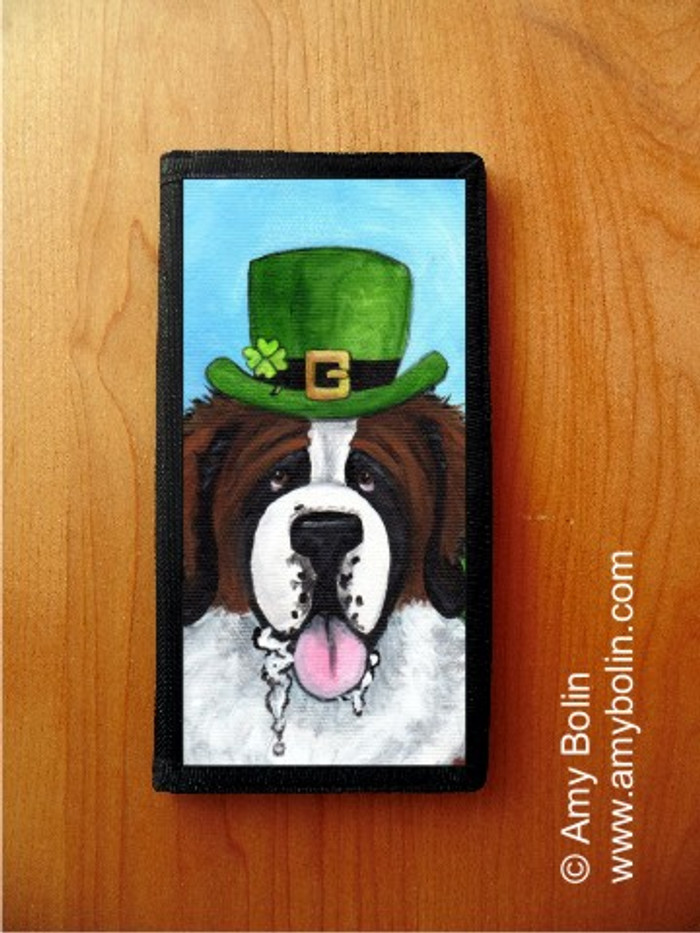 CHECKBOOK COVER · A BIG, WET IRISH KISS · SAINT BERNARD · AMY BOLIN