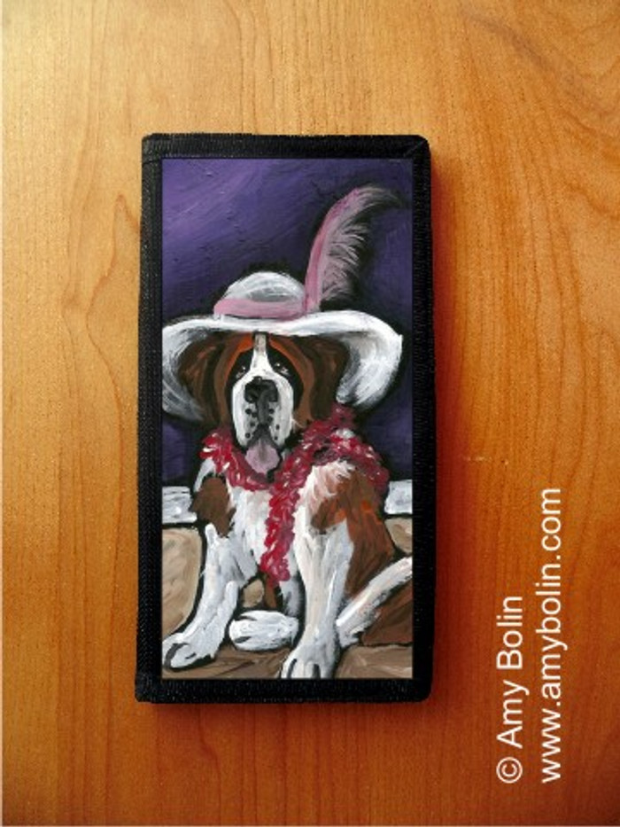 CHECKBOOK COVER · ALL DRESSED UP WITH NOWHERE TO GO · SAINT BERNARD · AMY BOLIN