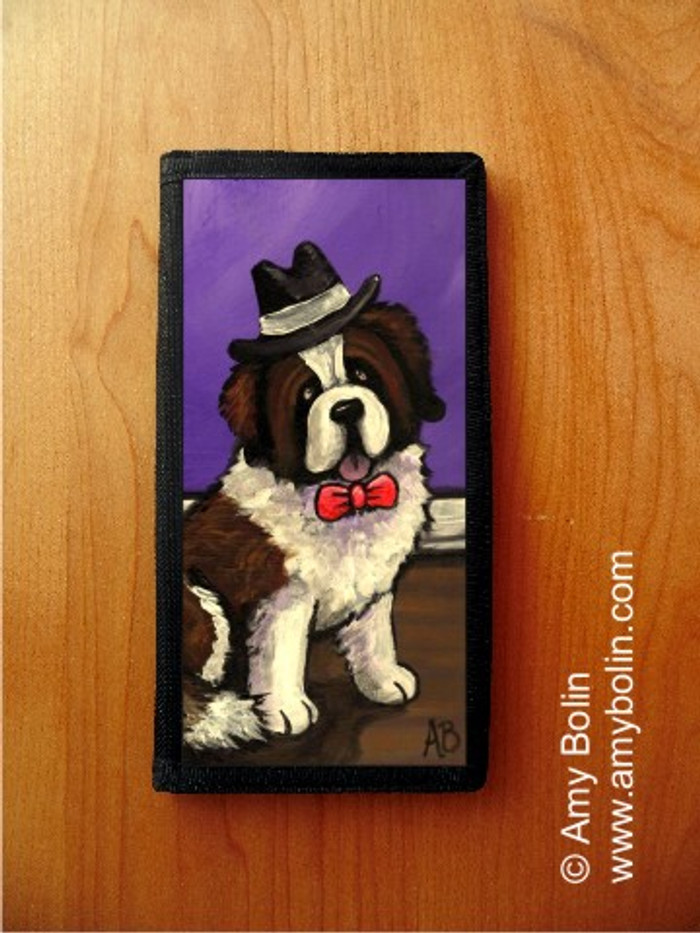 CHECKBOOK COVER · DAPPER DOG · SAINT BERNARD · AMY BOLIN