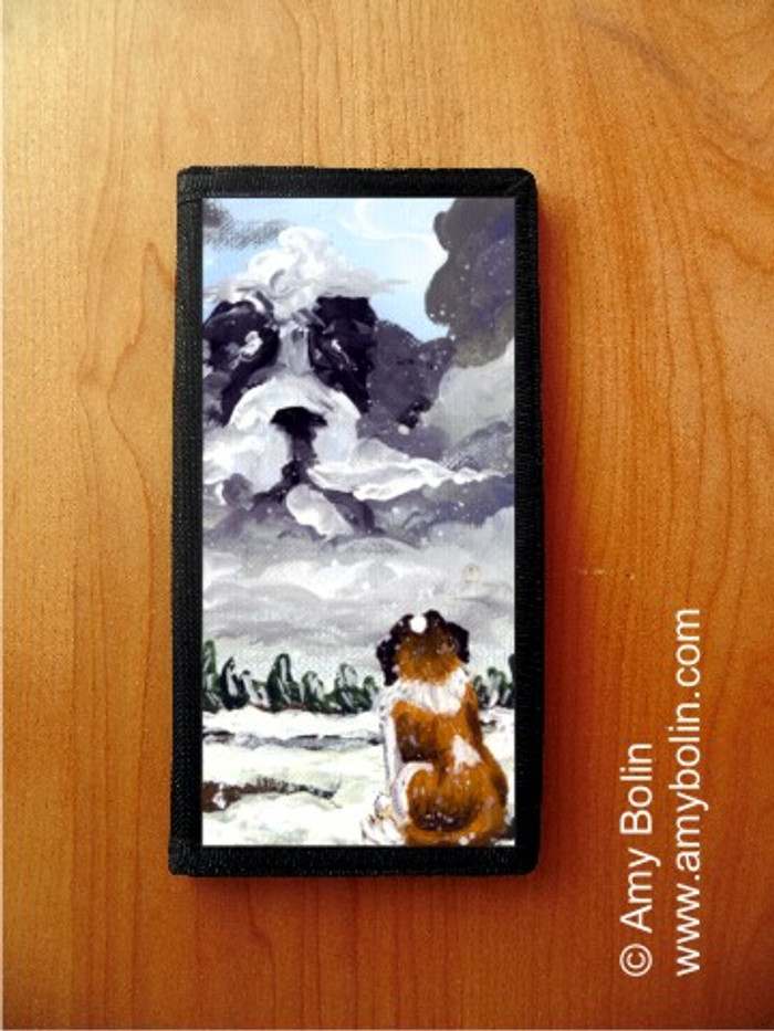 CHECKBOOK COVER · FIRST SNOW · SAINT BERNARD · AMY BOLIN