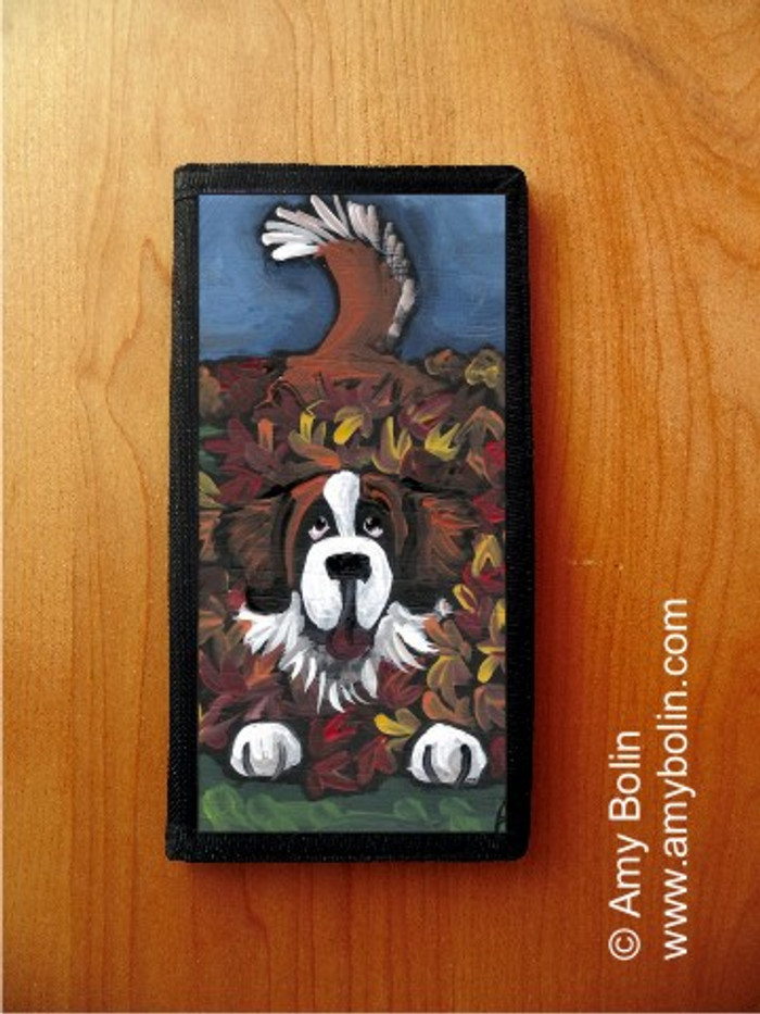 CHECKBOOK COVER · HAPPINESS IS A PILE OF LEAVES · SAINT BERNARD · AMY BOLIN