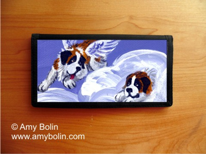CHECKBOOK COVER · HEAVENLY HIDE & SEEK · SAINT BERNARD · AMY BOLIN