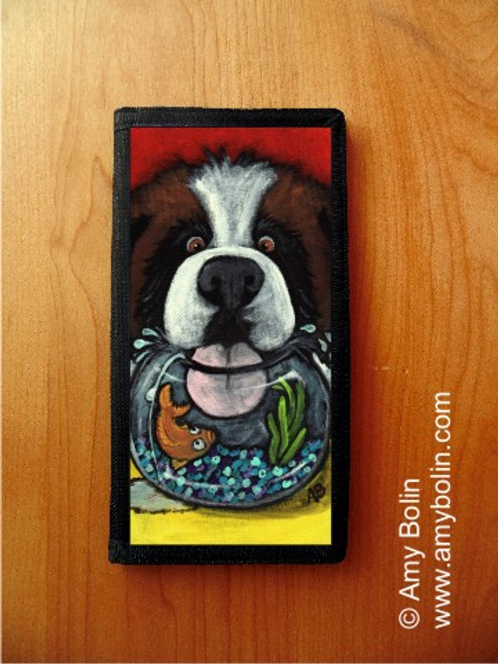 CHECKBOOK COVER · I'M SO THIRSTY · SAINT BERNARD · AMY BOLIN