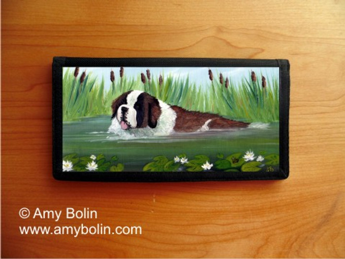CHECKBOOK COVER · IN MOM'S POND · SAINT BERNARD · AMY BOLIN