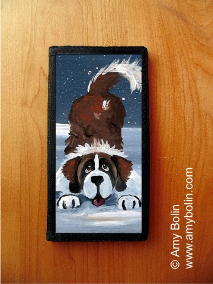 CHECKBOOK COVER · LET'S PLAY · SAINT BERNARD · AMY BOLIN