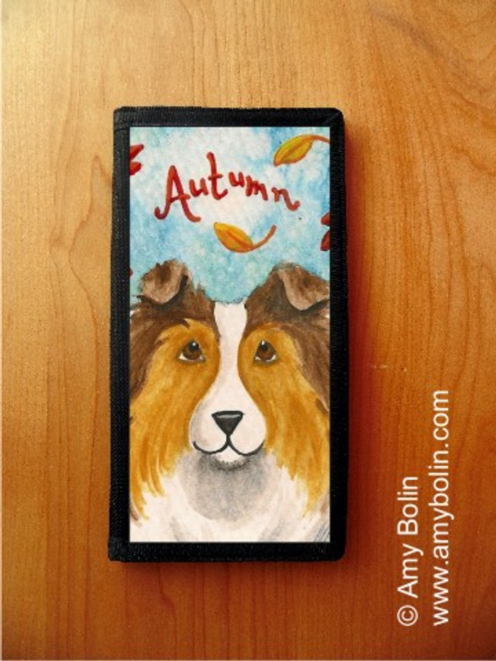 CHECKBOOK COVER · AUTUMN · SABLE  SHELTIE · AMY BOLIN