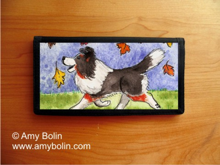 CHECKBOOK COVER · CHASING LEAVES · TRI COLOR  SHELTIE · AMY BOLIN