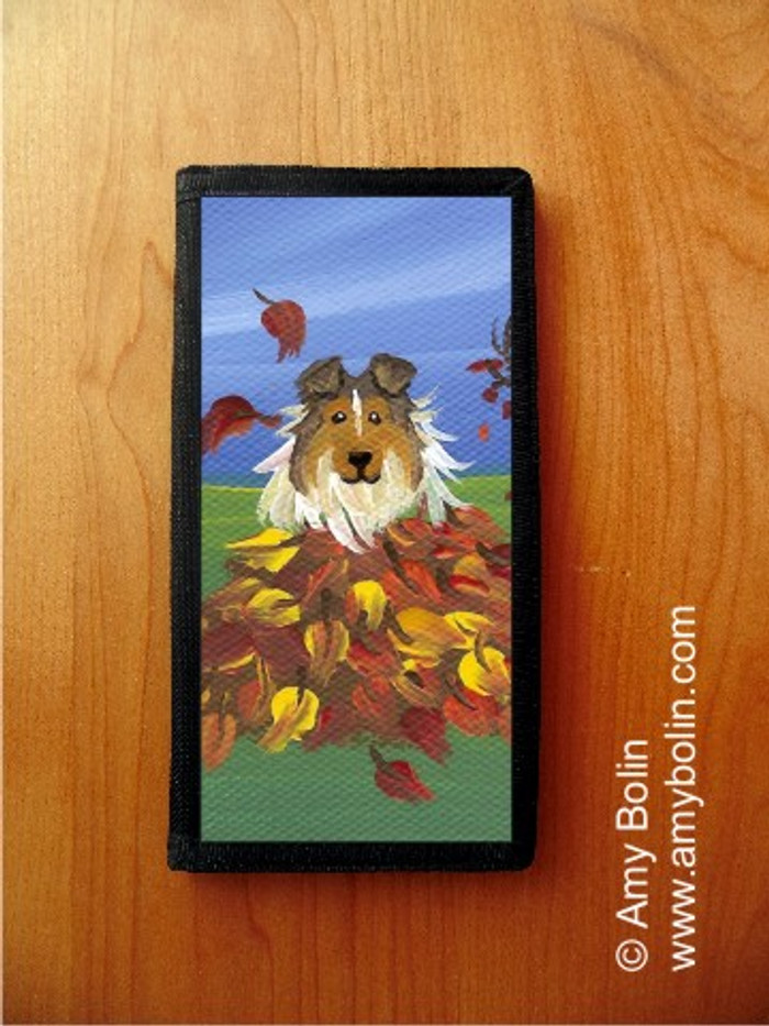 CHECKBOOK COVER · AUTUMN'S SIMPLE PLEASURES · SABLE  SHELTIE · AMY BOLIN