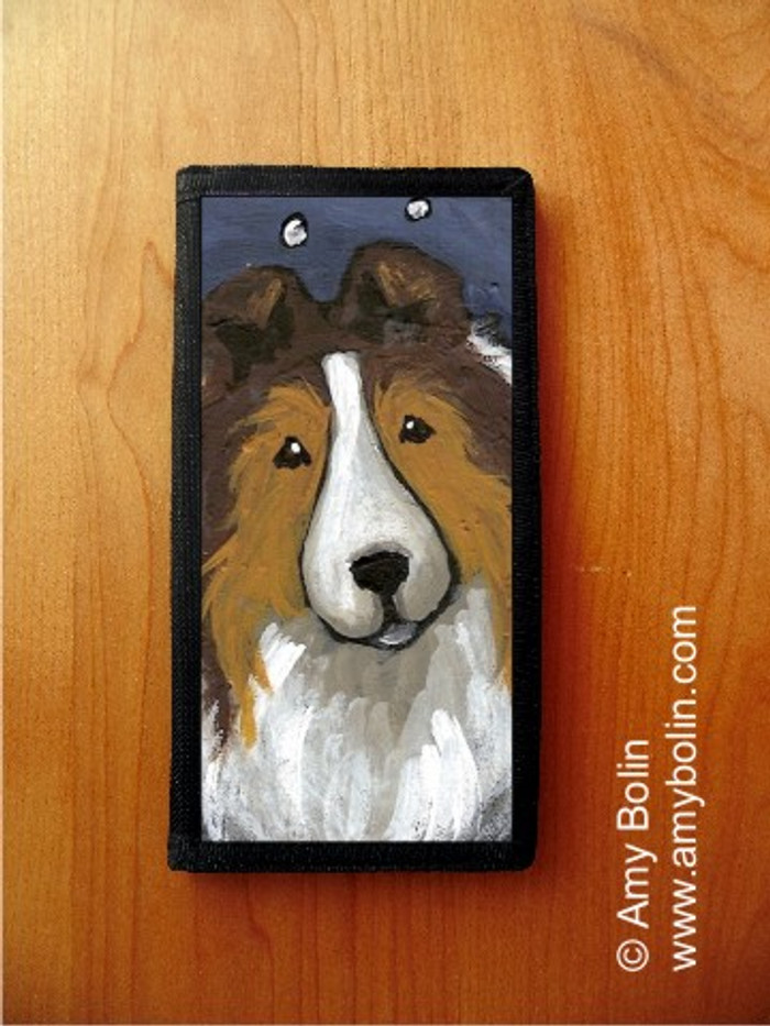 CHECKBOOK COVER · IN THE SNOW AGAIN · SABLE  SHELTIE · AMY BOLIN