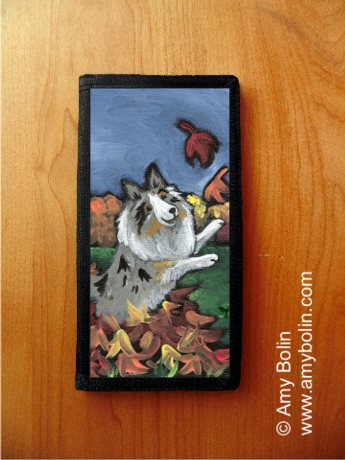 CHECKBOOK COVER · CHASING LEAVES · BLUE MERLE SHELTIE · AMY BOLIN