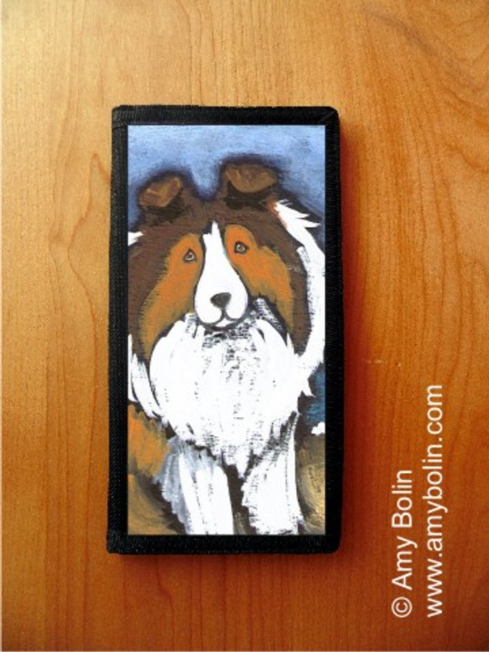 CHECKBOOK COVER · DAY AT THE BEACH · SABLE SHELTIE · AMY BOLIN
