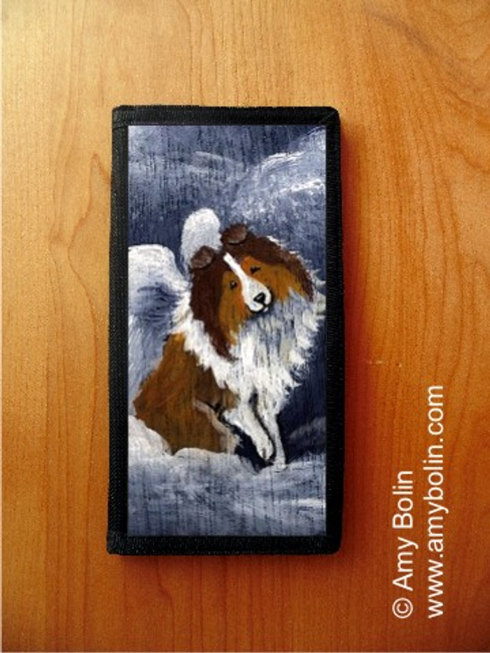 CHECKBOOK COVER · DOG BARKS & ANGEL WINGS · SABLE SHELTIE · AMY BOLIN