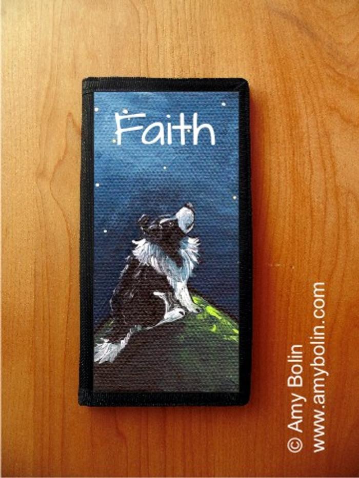 CHECKBOOK COVER · FAITH · BI BLACK SHELTIE · AMY BOLIN