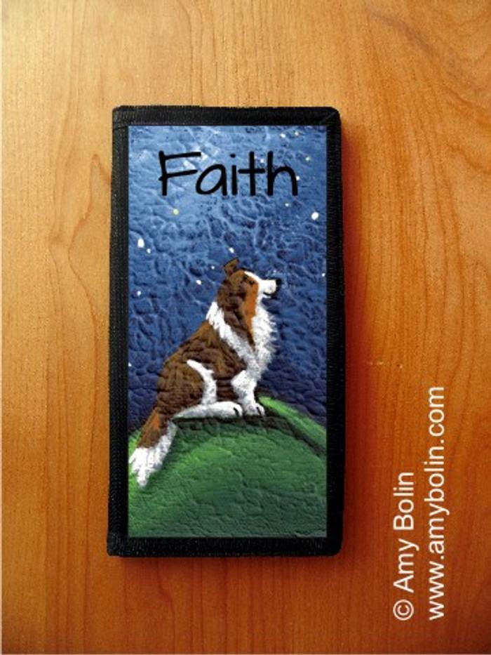 CHECKBOOK COVER · FAITH · SABLE SHELTIE · AMY BOLIN