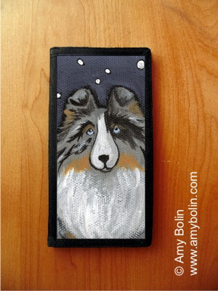 CHECKBOOK COVER · IN THE SNOW AGAIN · BLUE MERLE SHELTIE · AMY BOLIN