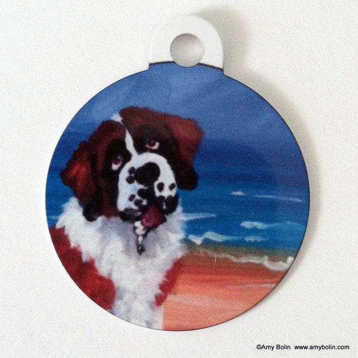 DOUBLE SIDED PET ID TAG · A DAY AT THE BEACH · SAINT BERNARD · AMY BOLIN