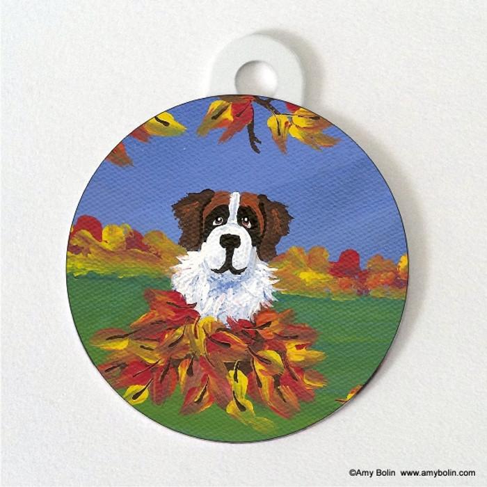 DOUBLE SIDED PET ID TAG · AUTUMN'S SIMPLE PLEASURES 3 · SAINT BERNARD · AMY BOLIN