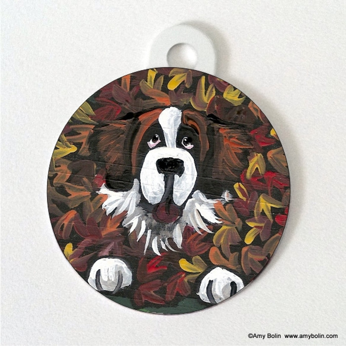 DOUBLE SIDED PET ID TAG · HAPPINESS IS A PILE OF LEAVES · SAINT BERNARD · AMY BOLIN