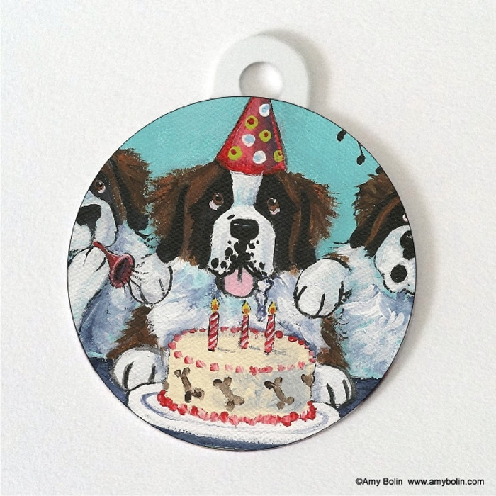 DOUBLE SIDED PET ID TAG · HAPPY BIRTHDAY TO YOU · SAINT BERNARD · AMY BOLIN