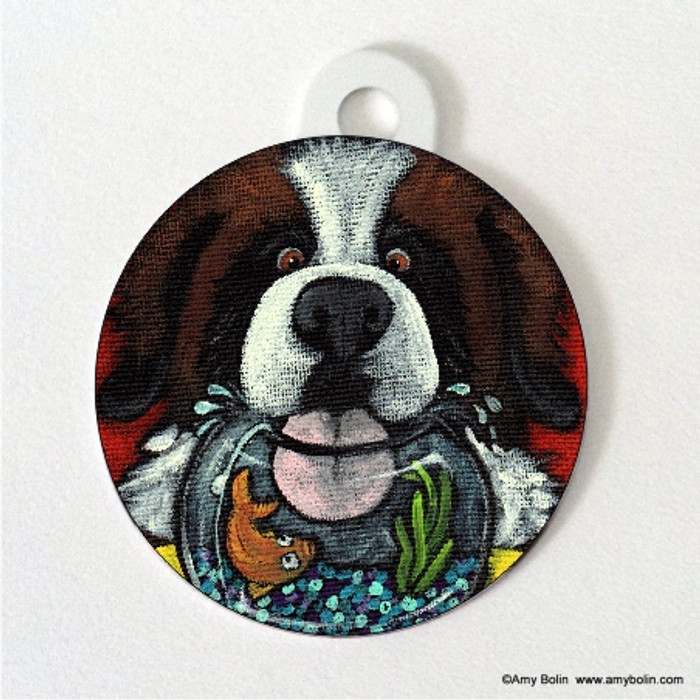 DOUBLE SIDED PET ID TAG · I'M SO THIRSTY · SAINT BERNARD · AMY BOLIN