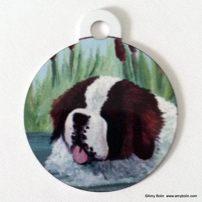 DOUBLE SIDED PET ID TAG · IN MOM'S POND · SAINT BERNARD · AMY BOLIN