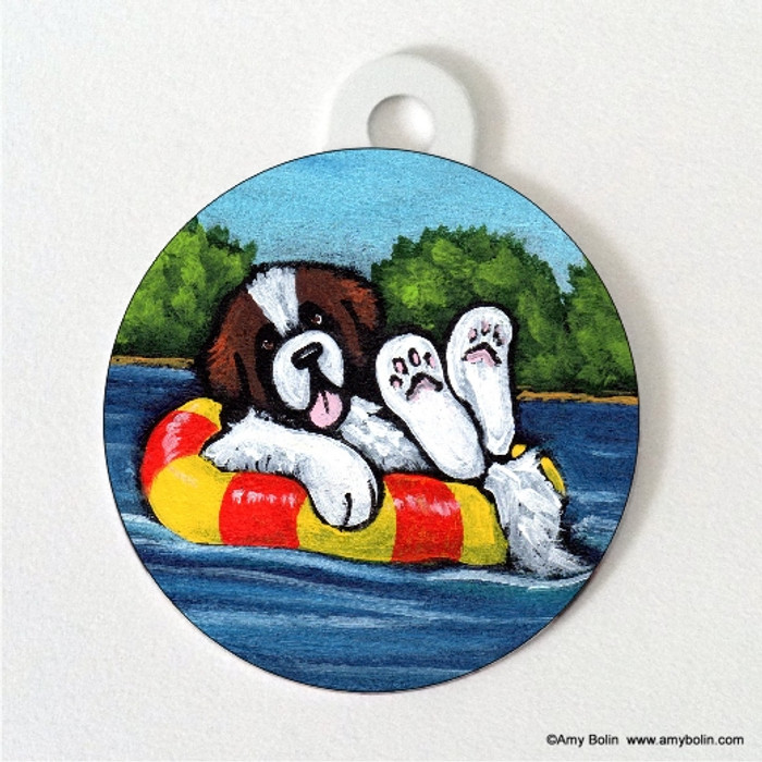 DOUBLE SIDED PET ID TAG · JUST CHILLIN' · SAINT BERNARD · AMY BOLIN
