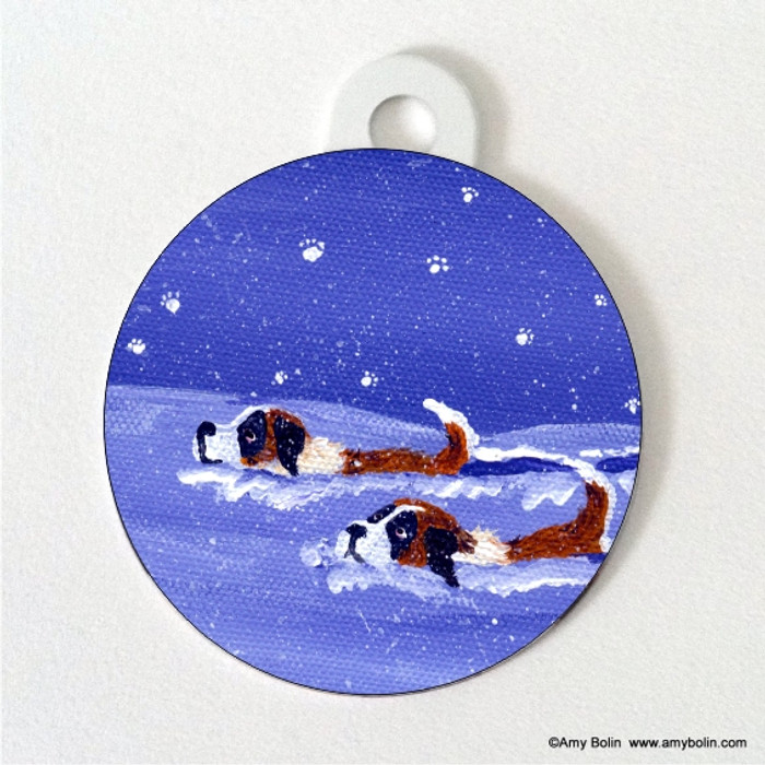 DOUBLE SIDED PET ID TAG ·  SAINTS DEEP IN THE SNOW · SAINT BERNARD · AMY BOLIN