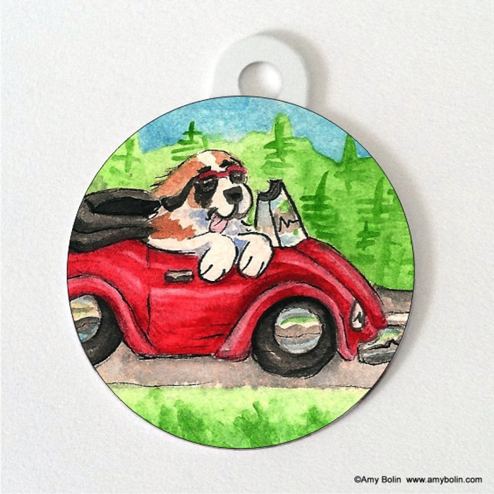 DOUBLE SIDED PET ID TAG ·  SUMMER IS FOR CRUISING · SAINT BERNARD · AMY BOLIN