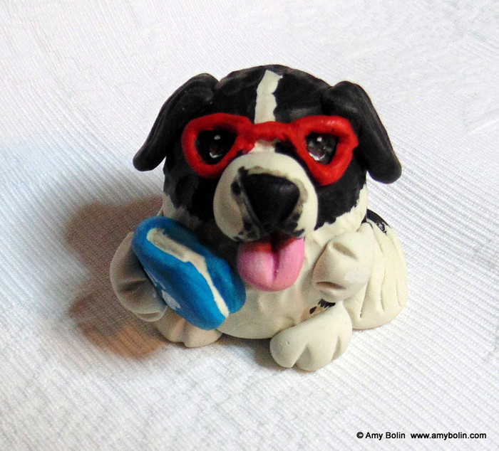 "PUDGIE ""Dog Tails"" Landseer Newfoundland Mini Sculpture by Amy Bolin"