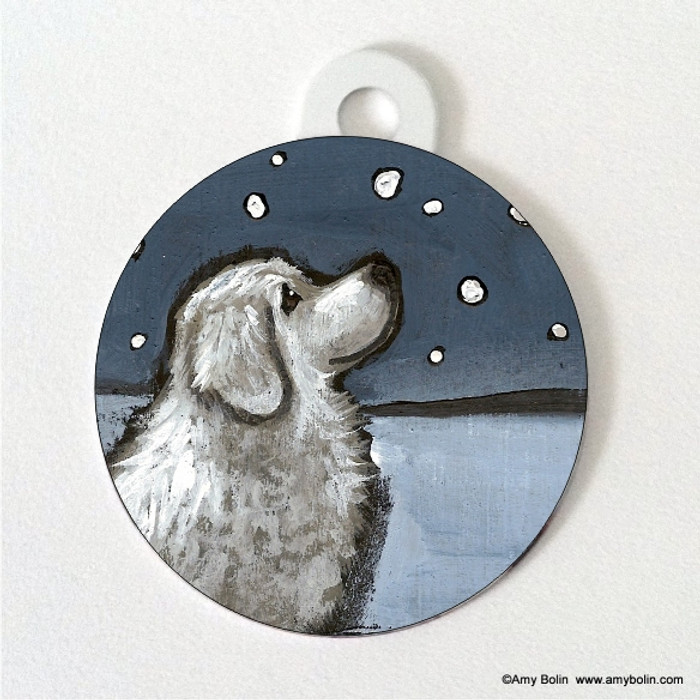 DOUBLE SIDED PET ID TAG · COUNTING SNOWFLAKES · GREAT PYRENEES · AMY BOLIN