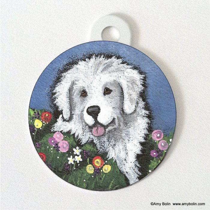 DOUBLE SIDED PET ID TAG · MOM'S FAVORITE FLOWER · GREAT PYRENEES · AMY BOLIN