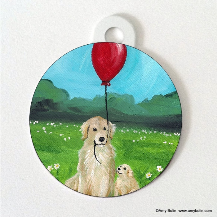 DOUBLE SIDED PET ID TAG · A GOLDEN AFTERNOON  · GOLDEN RETRIEVER · AMY BOLIN