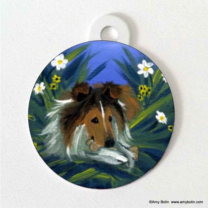 DOUBLE SIDED PET ID TAG · A SECRET TREAT · SABLE SHELTIE · AMY BOLIN