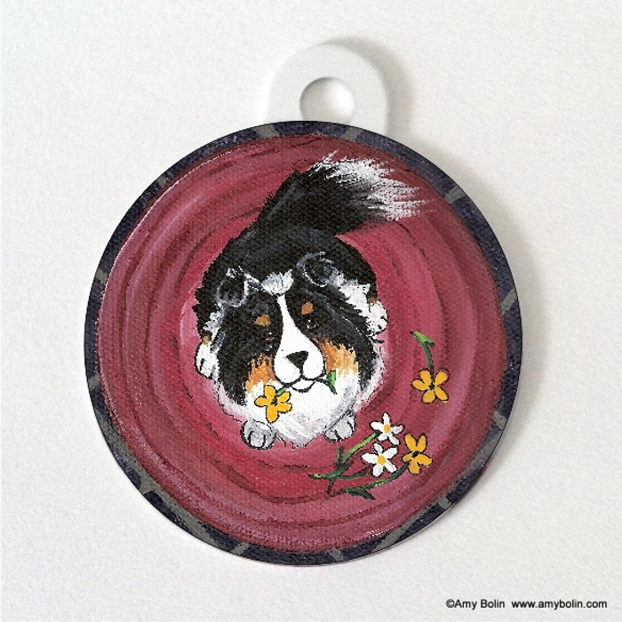 DOUBLE SIDED PET ID TAG · BE MINE · TRI COLOR · AMY BOLIN