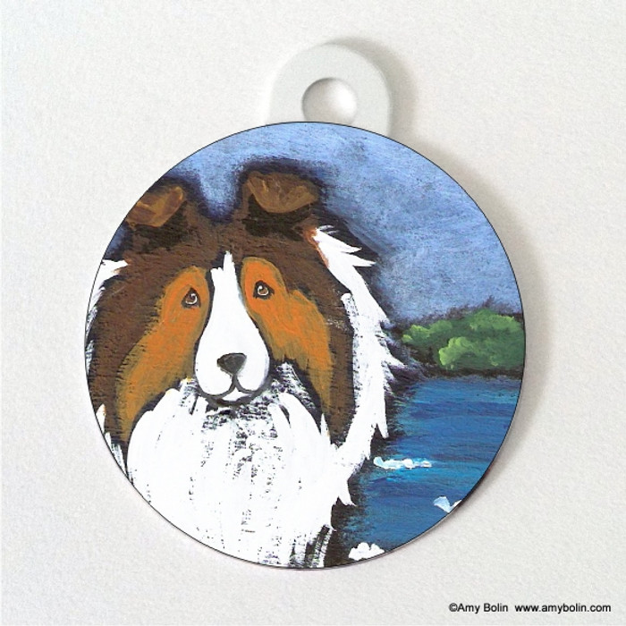 DOUBLE SIDED PET ID TAG · DAY AT THE BEACH · SABLE · AMY BOLIN