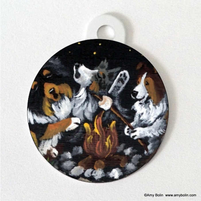 DOUBLE SIDED PET ID TAG · SHELTIES AROUND THE CAMPFIRE · BLUE MERLE, SABLE, TRI COLOR · AMY BOLIN