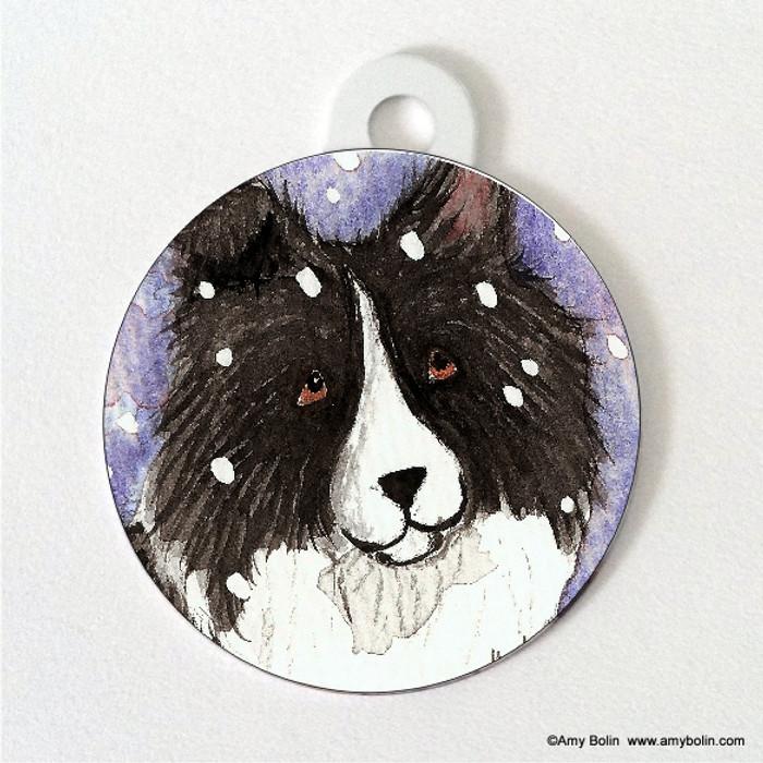 DOUBLE SIDED PET ID TAG · SNOWY · BI BLACK · AMY BOLIN
