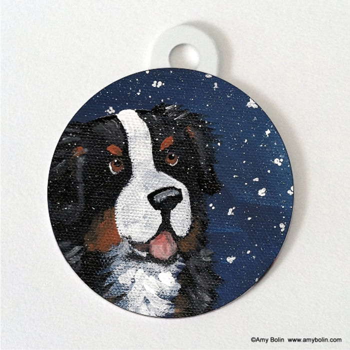 DOUBLE SIDED PET ID TAG · COUNTING SNOWFLAKES · BERNESE MOUNTAIN DOG · AMY BOLIN
