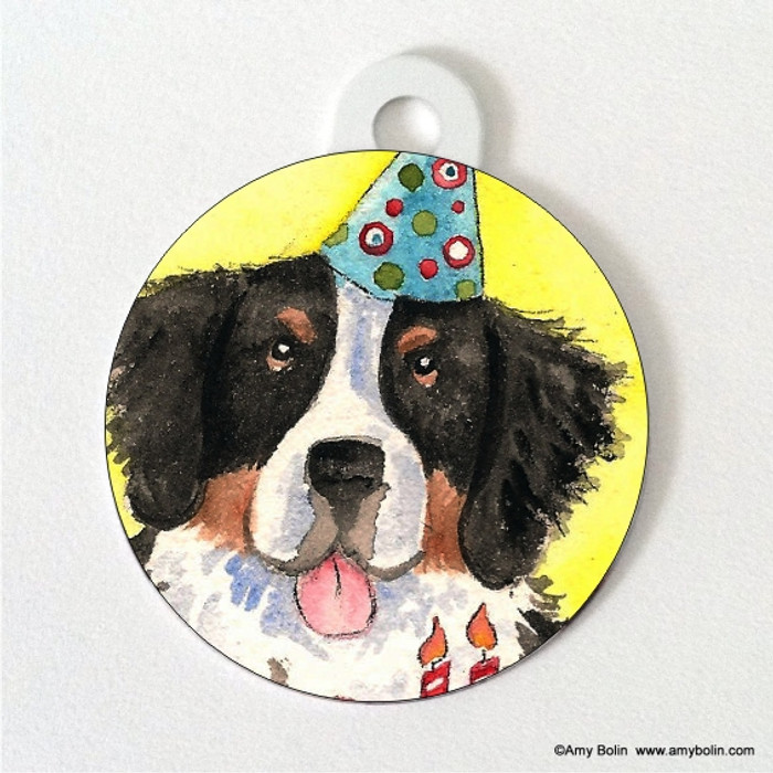 DOUBLE SIDED PET ID TAG · HAPPY BIRTHDAY TO YOU · BERNESE MOUNTAIN DOG · AMY BOLIN