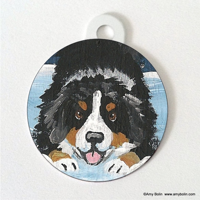 DOUBLE SIDED PET ID TAG · LET'S PLAY · BERNESE MOUNTAIN DOG · AMY BOLIN