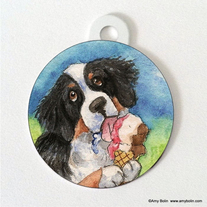 DOUBLE SIDED PET ID TAG · MAKE MINE NEAPOLITAN · BERNESE MOUNTAIN DOG · AMY BOLIN