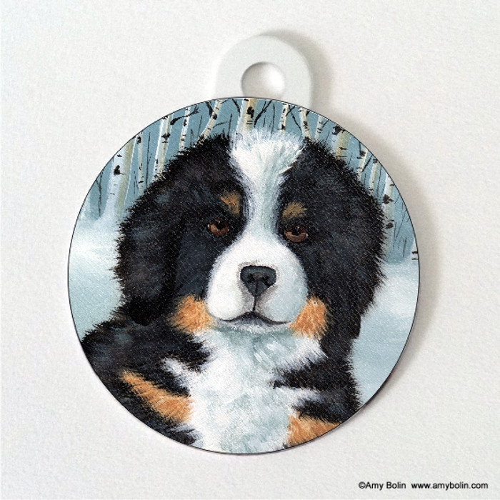 DOUBLE SIDED PET ID TAG · PUPPY EYES · BERNESE MOUNTAIN DOG · AMY BOLIN