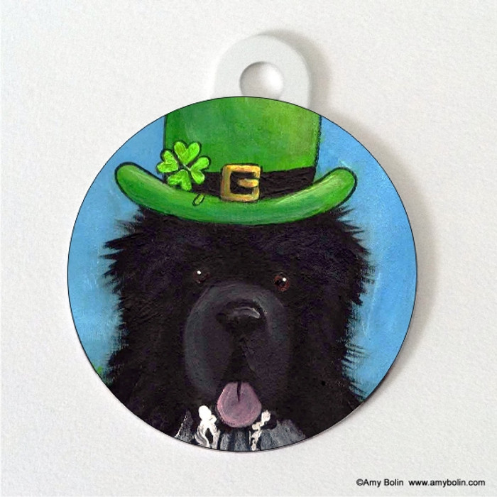 DOUBLE SIDED PET ID TAG · A BIG, WET IRISH KISS · IRISH SPOTTED NEWFOUNDLAND · AMY BOLIN